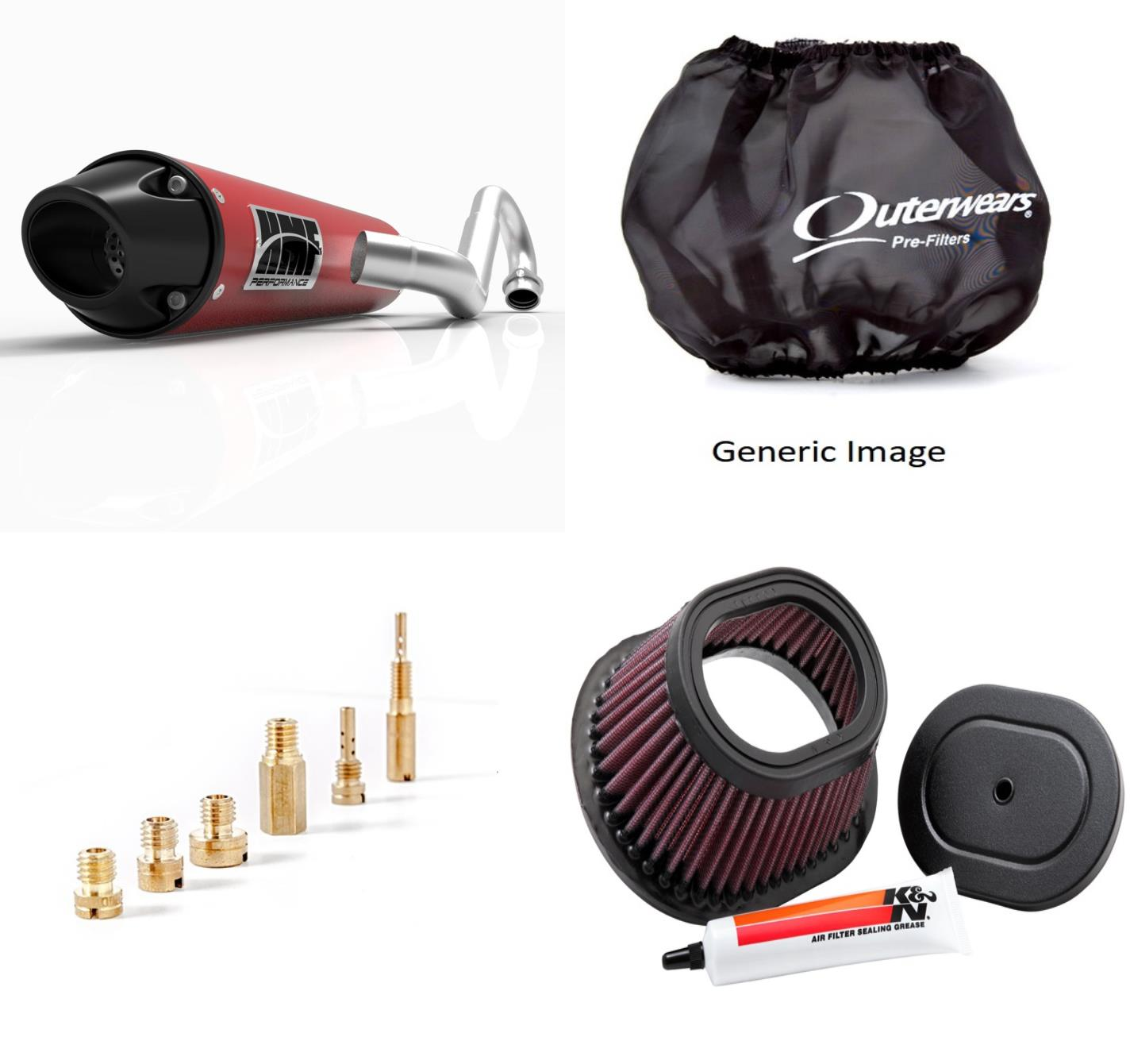 Basic Jet Kit, Air Filter, Pre Filter & Candy-Red Performance-Series Full System Exhaust Euro-Black for Yamaha Raptor 125 2011-2014