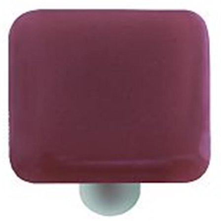 Hot Knobs HK1037 KA Light Plum Square Glass Cabinet Knob Aluminum Post