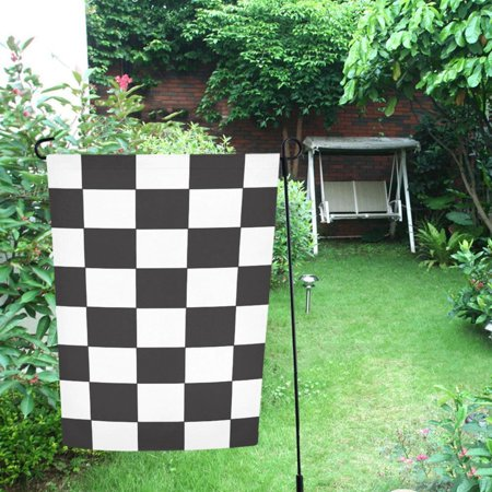 MYPOP Black White Checkered Pattern Garden Flag For Patio, Lawn and Garden 28x40 inches](Checkered Flag Decorations)