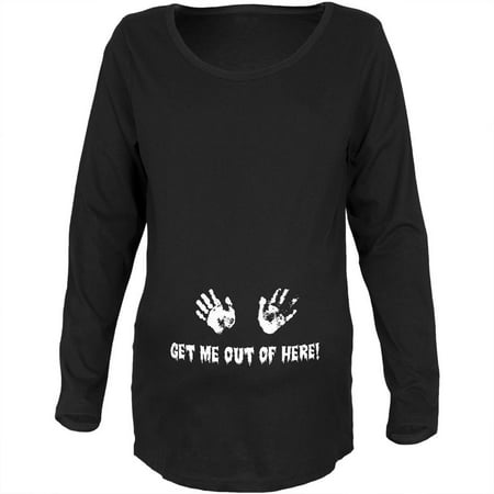 Stand Maternity T-shirt (Get Me Out of Here Black Maternity Soft Long Sleeve T-Shirt)