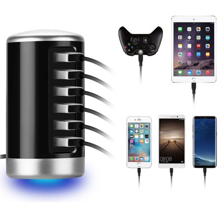 6 Multi-Port USB Wall Travel Charger Desktop Charging Hub Station for iPhone, iPad, Samsung Galaxy, Camera, Tablet, Power Bank and