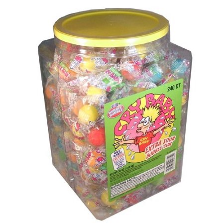 Sour Bubble Gum - Cry Baby Extra Sour Bubble Gum Tub, 240 Count