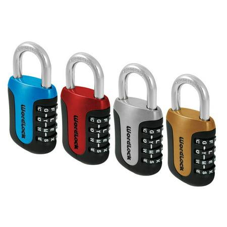 Wordlock PL-096-A1 4-Dial Word Padlock, Blue