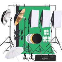 Clearance! Professional Softbox Lighting Kit, SEGMART Background Support System w/5Pcs 45W 5500K Socket Light, 3 Color Backdrop, Umbrellas Softbox Continuous Lighting Stand Set for Photo Studio, S8678
