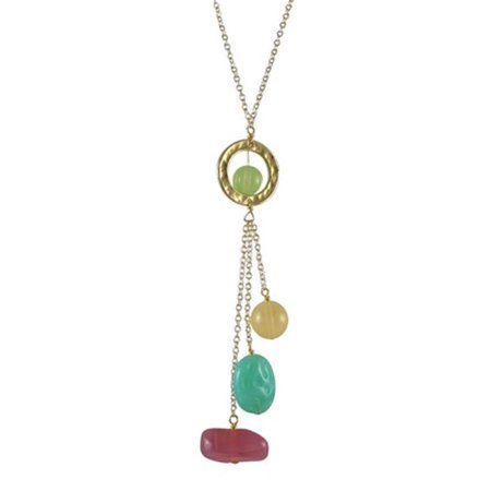 Dlux Jewels Light Multi Lariat Style Necklace with Gold Plated Brass Chain, 16 x 2 in. (Plated Multi Stone)