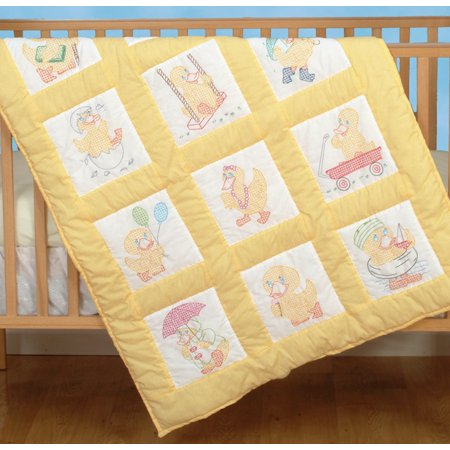 Jack Dempsey Baby Ducks Nursery Quilt Blocks, 12Pk, 9