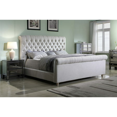 Best Master Furniture Jean-Carrie Upholstered Sleigh Bed, Cal. King Cream Fabric California King Upholstered Bed