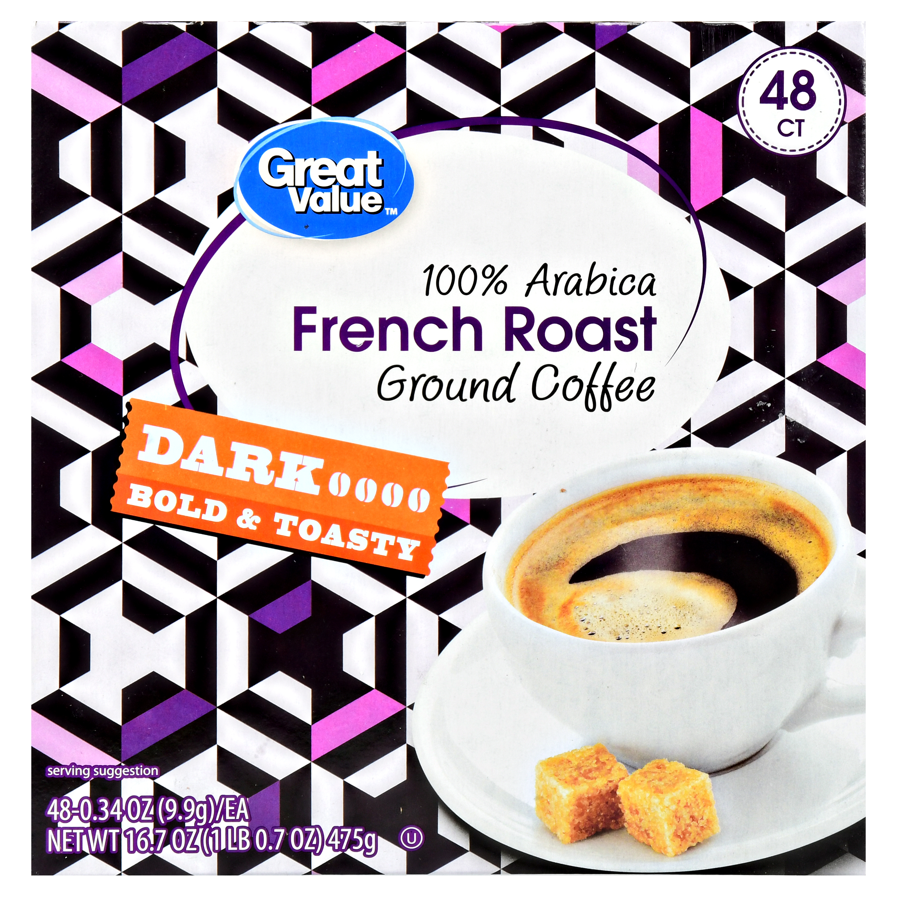 Great Value French Roast Ground Coffee Single Serve Cups, Dark Roast, 48 Count