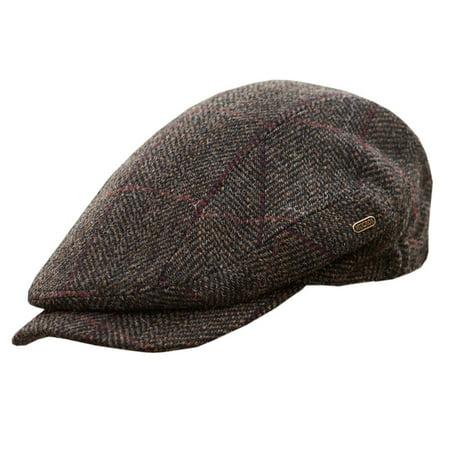 Men's Quiet Man Cap, Irish Tweed Flat Cap, Brown, Medium