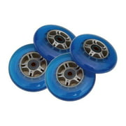 4 Blue Wheels W/Abec 7 Bearings for RAZOR SCOOTER 100mm