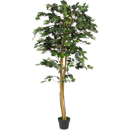 - Best Choice Products 6ft Indoor/Outdoor Decorative Artificial Tree Ficus Plant w/ 1,008 Leaves, Stabilizing Pot for Living Room, Bedroom, Home Decor - Green