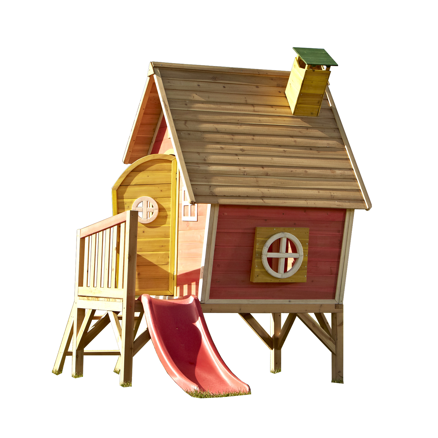 Swing-N-Slide Hide and Slide Wooden Playhouse with Slide, Red and Yellow by Swing-n-Slide