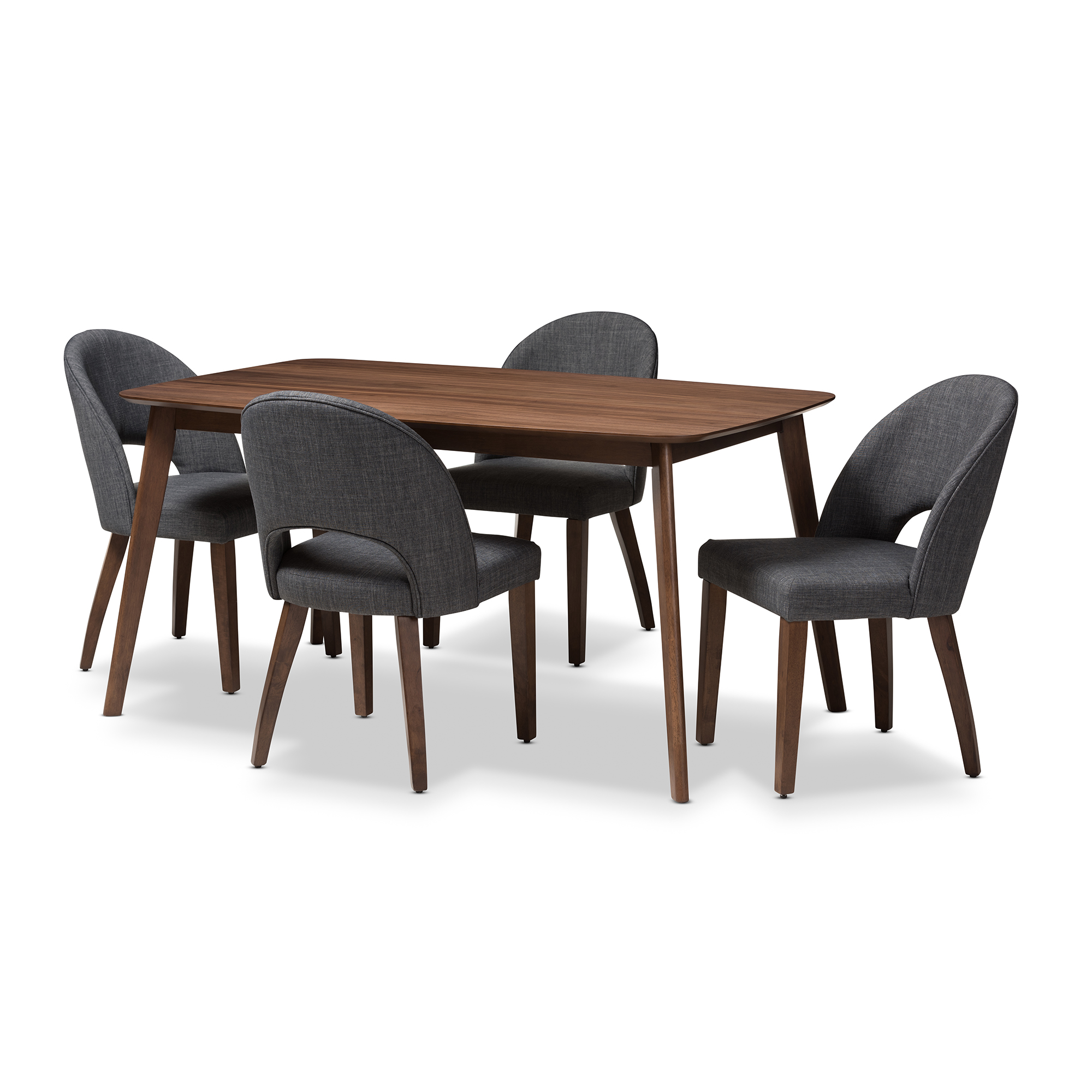 Baxton Studio Wesley Mid-Century Modern Fabric Upholstered Walnut Finished Wood 5-Piece Dining Set, Multiple Colors