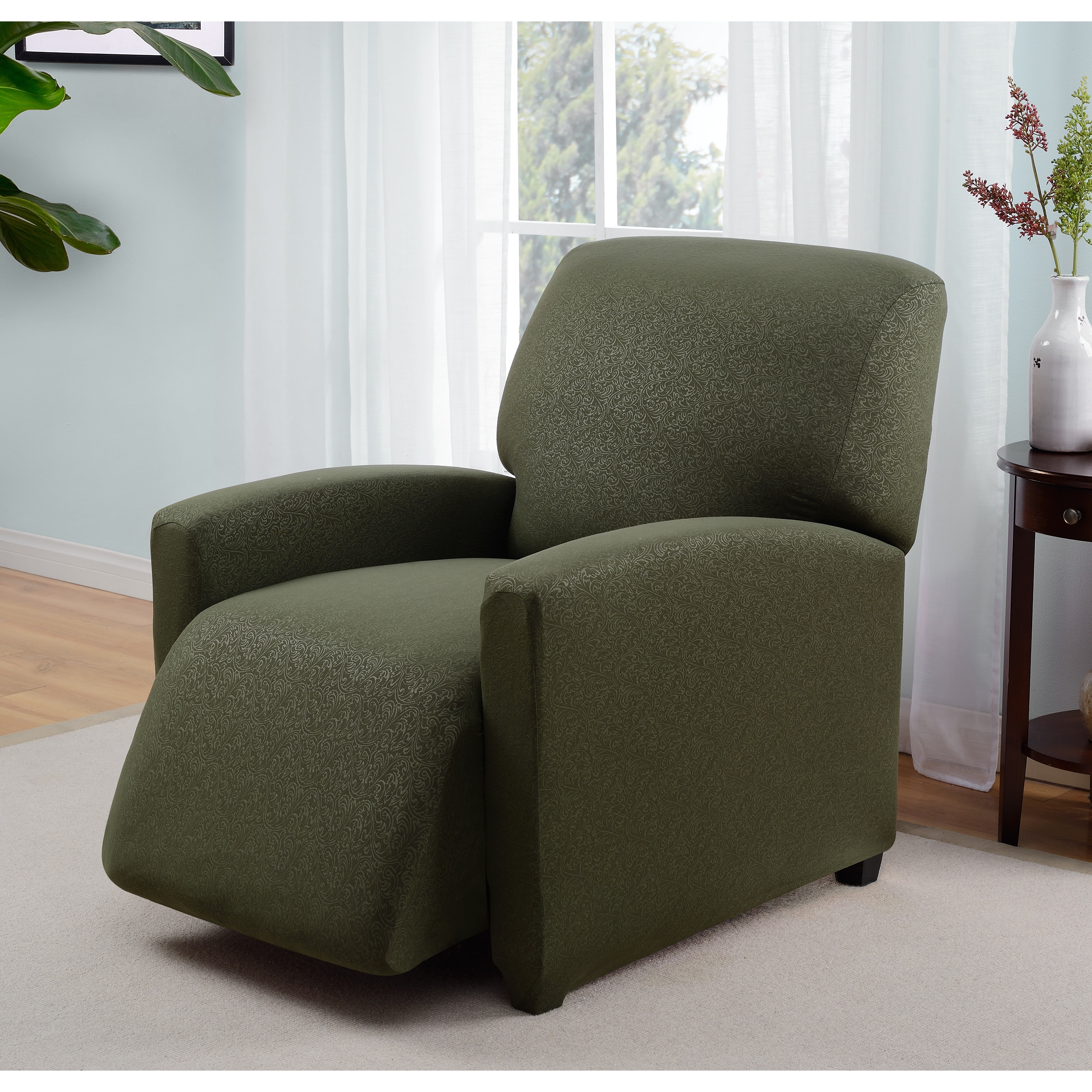 Madison Industries Stretch Jersey Scroll Recliner Slipcover