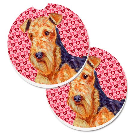 Airedale Hearts Love & Valentines Day Portrait Set of 2 Cup Holder Car Coaster - image 1 de 1