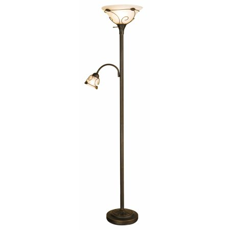 Normande Lighting Scroll Detail Torchiere Floor Lamp with Side Reading Lamp