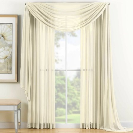 Reverie Sheer Window Scarf Valance in Ivory 100% Polyester 216 Inches Length ()