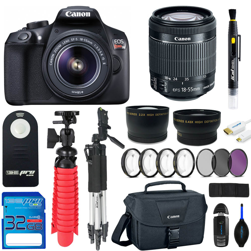 Canon EOS Rebel T6 DSLR Digital Camera + 18-55mm EF-S f/3.5-5.6 IS II Lens + 32GB SD Card +  2 Tripods + Camera Case +  Pixi Advanced - Accessory Bundle Kit