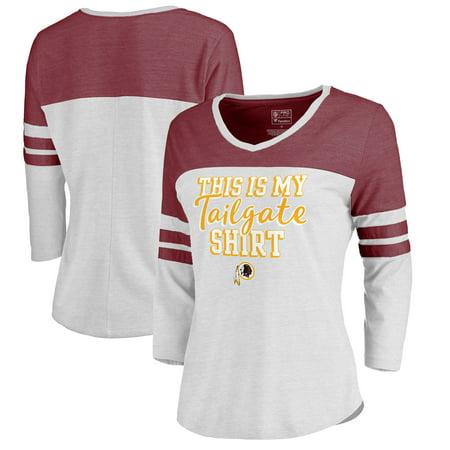 dcf2e03e Washington Redskins NFL Pro Line by Fanatics Branded Women's Plus Size Air  Color Block Tri-Blend 3/4-Sleeve T-Shirt - White