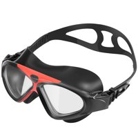 IPOW Seal Swim Goggle Watertight Anti-fog Adjustable Strap Large Clear Lens Waterproof Eyes Protector for Kid Teen Adult Swimming & Diving,Black