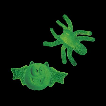 Fun Express - Glow In The Dark Sticky Spiders And Bats for Halloween - Toys - Value Toys - Sticky & Stretch Toys - Halloween - 48 - Halloween Bats And Spiders