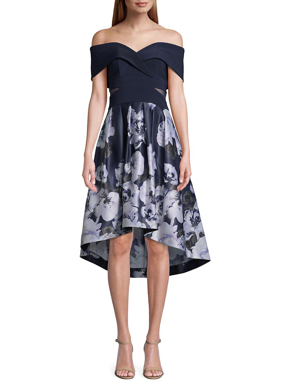Floral Off-The-Shoulder Fit-&-Flare Dress