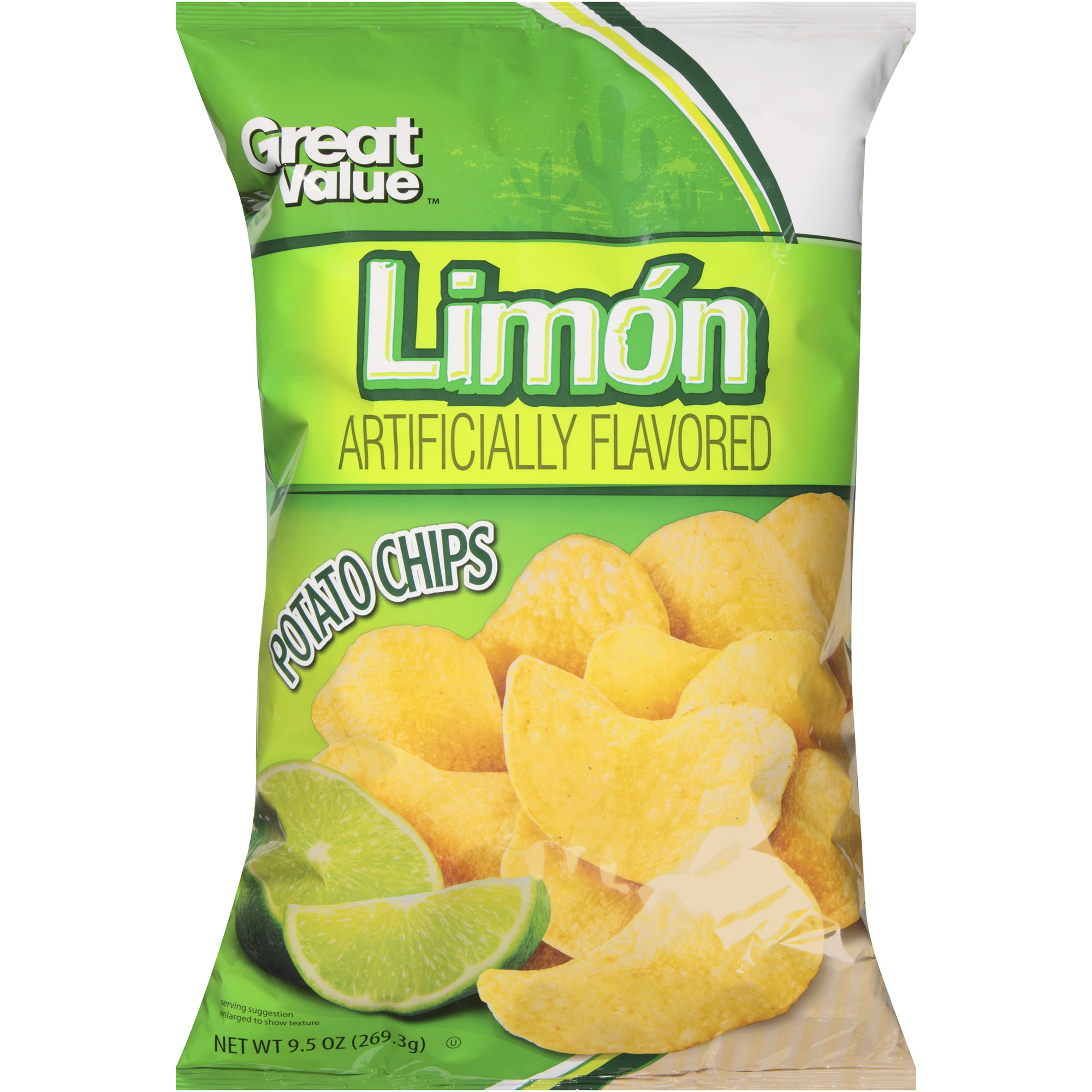 Great Value Limon Flavored Potato Chips, 9.5 Oz.