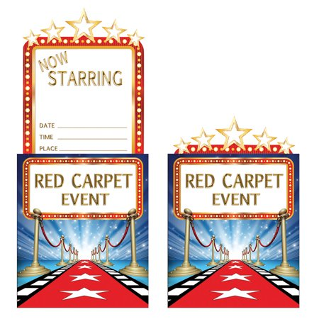 "Club Pack of 48 Red and Blue Hollywood Lights Themed Party Popup Invitations 8.7"" - Hollywood Theme Invitation"