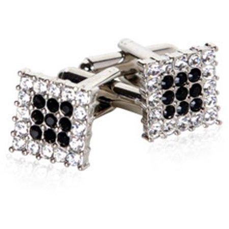 Crystal Cubic Zirconia Cufflinks - Tasteful Black Crystal and Cubic Zirconia CZ Silver Cufflinks by Cuff-Daddy