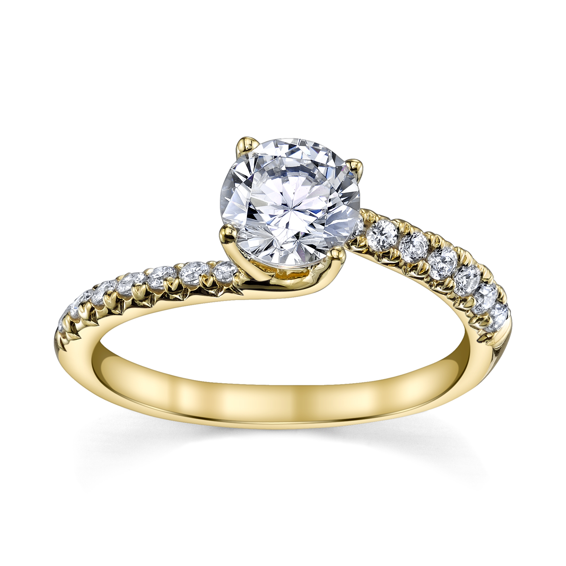 Beautiful 1.26CTW Diamond Engagement Ring in 14k Yellow Gold by