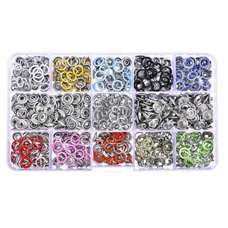 babydream1 100/150/200 Sets/lot 10 Colors 9.5mm Metal Prong Snap Buttons Fasteners Press Studs Poppers Baby Romper Clothes Buckle - image 1 of 6