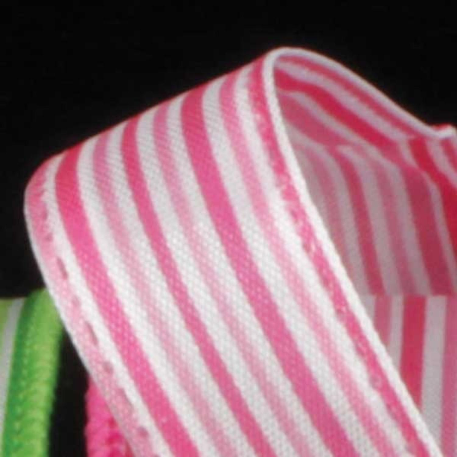 "Ribs of Pink and White Thin Striped Wired Craft Ribbon 5/8"" x 60 Yards"