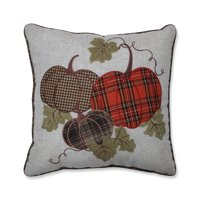 """18"""" Orange and Brown Plaid Pumpkins with Leafs Indoor Throw Pillow"""