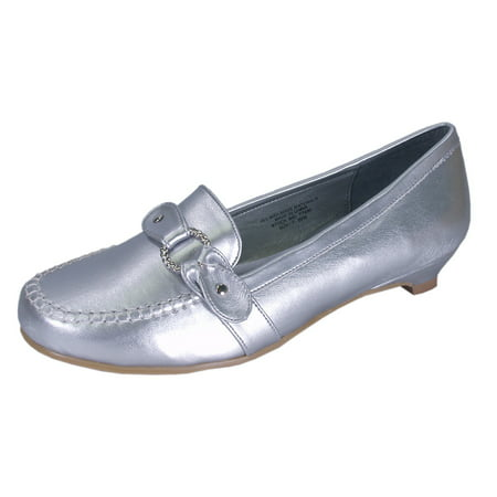c8be5bd8d449 FLORAL - FLORAL Erica (FT0680) Women Extra Wide Width Loafers Silver 6 -  Walmart.com