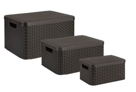 Curver by Keter Baskets Set of 3 Rectangular Resin Wicker Storage Containers with Lids... by Keter