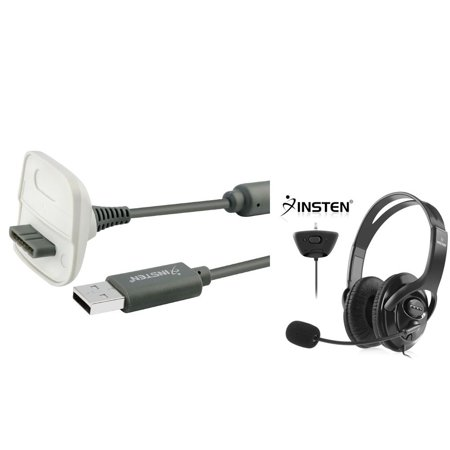 Xbox 360 Headset With Mic Charger By Insten Black Headphone Microphone