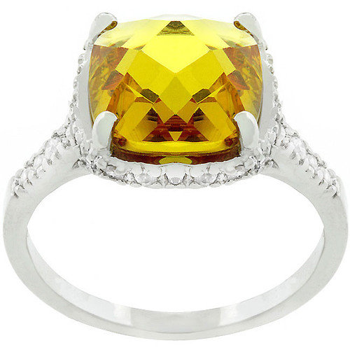 Kate Bissett White Gold Rhodium Bonded Metal Canary Cubic Zirconia Ring