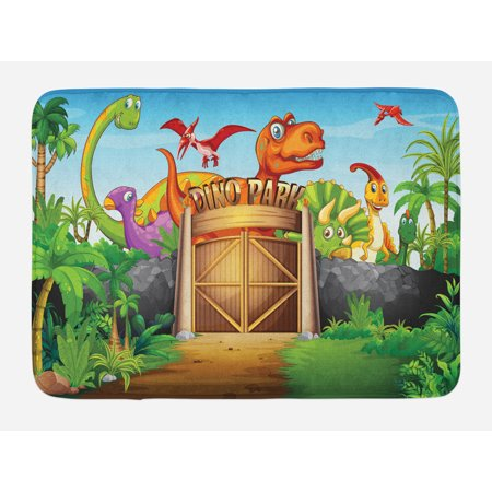 - Zoo Bath Mat, Dinosaurs Living in Park Cartoon Prehistoric Wildlife Forest Trees Door Illustration, Non-Slip Plush Mat Bathroom Kitchen Laundry Room Decor, 29.5 X 17.5 Inches, Multicolor, Ambesonne