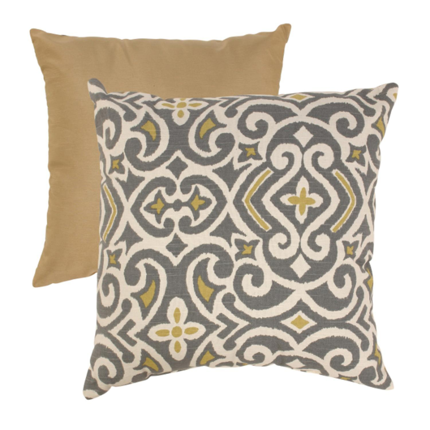 "18"" Graphite & Chartreuse Damask Pattern Square Throw Pillow"