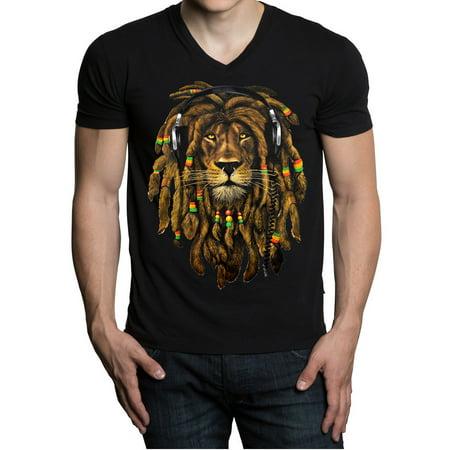 Men's Dreadlock Rasta Lion Headphones Black V-Neck T-Shirt 2X-Large Black](Rasta Dreadlocks)