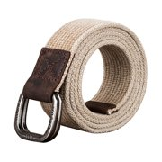 Xhtang Double Metal Buckle Adjustable Sturdy Canvas Belt For Mens
