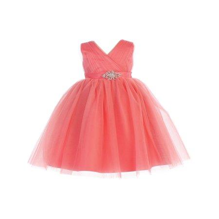 Baby Girls Coral Glitter Tulle V-Neck Rhinestone Brooch Flower Girl Dress