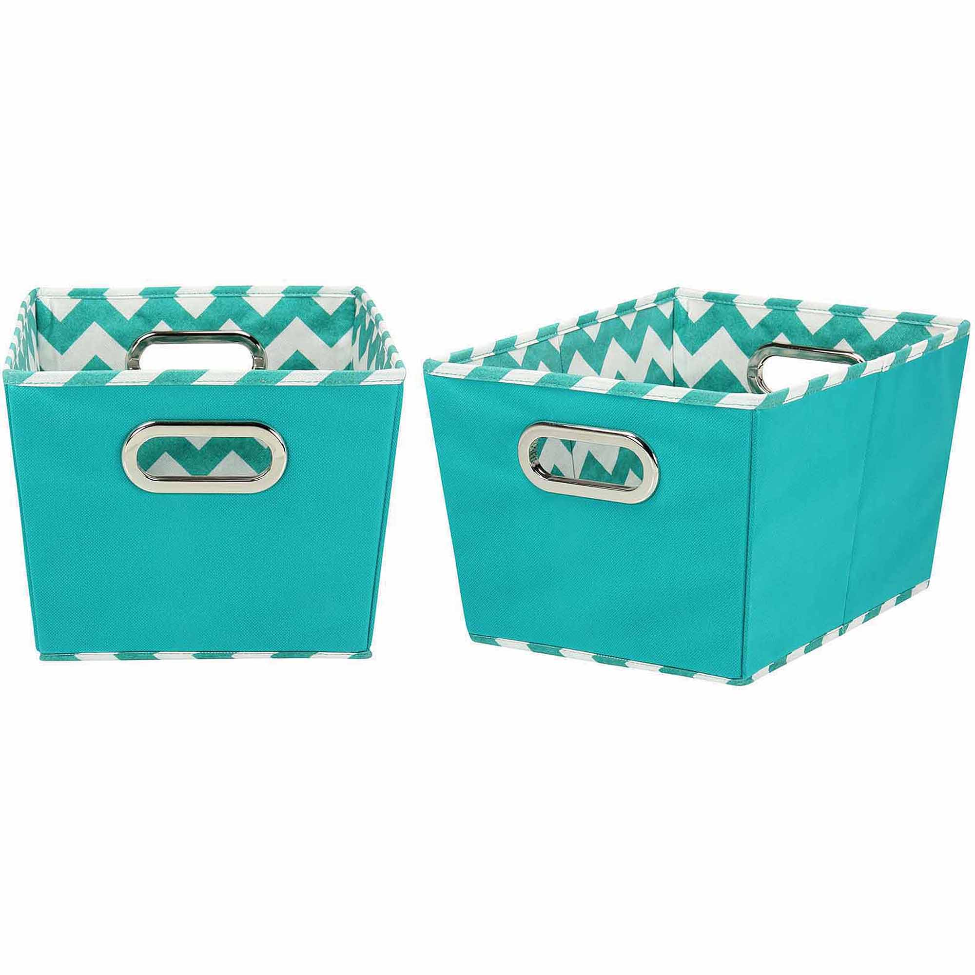 Household Essentials Small Decorative Storage Bins, 2pk, Aqua and Chevron