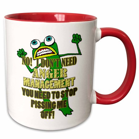 3dRose No I dont need anger management, you need to stop pissing me off. - Two Tone Red Mug, 11-ounce (Anger Management Coffee Mug)
