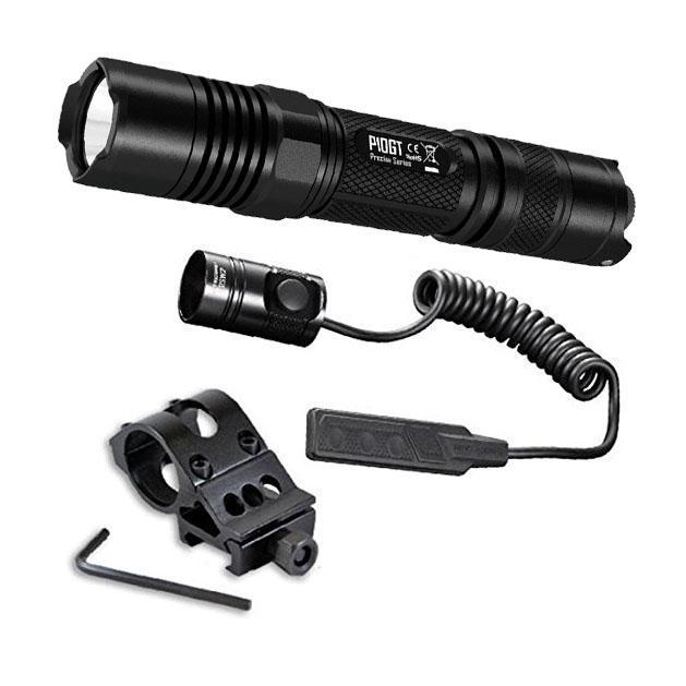 Combo: Nitecore P10GT Flashlight - CREE XP-L HI V3 LED- 900 Lumens w/RSW1 Pressure Switch  and  Offset Gun Mount