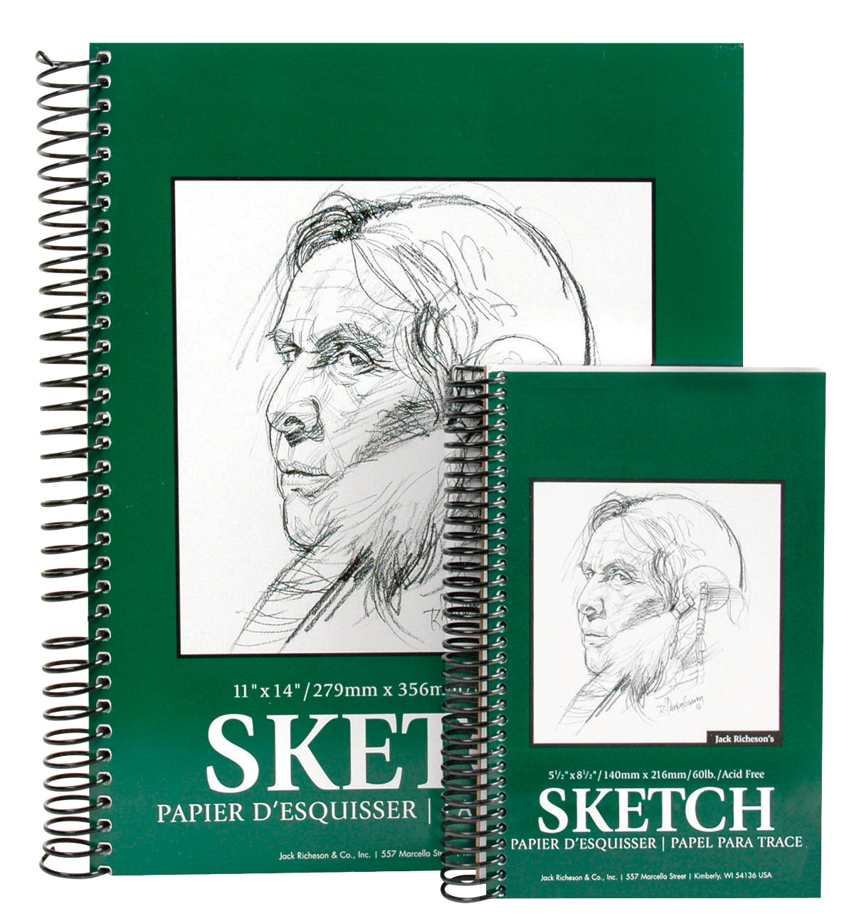 Jack Richeson 100% Sulphite Spiral Binding High Quality Sketch Pad, 60 lb, 5-1/2 X 8-1/2 in, 100 Sheets, White