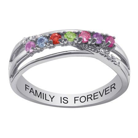 Family Jewelry Personalized Mother's Sterling Silver or Gold over Silver Genuine Birthstone and Diamond Accent Ring