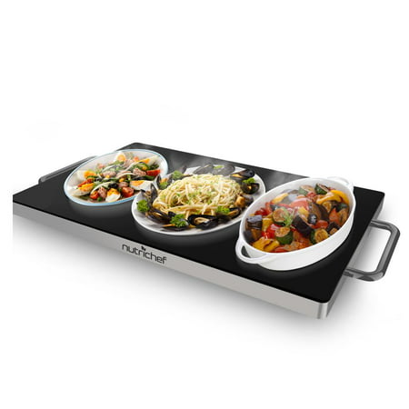 NutriChef PKWTR45 - Electric Warming Tray / Food Warmer with Non-Stick Heat-Resistant Glass Plate (19.8'' x 11.9'' Heating Surface)