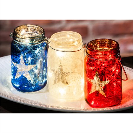 Glass Mason Jar w/String Lights, Americana (Jaw String)