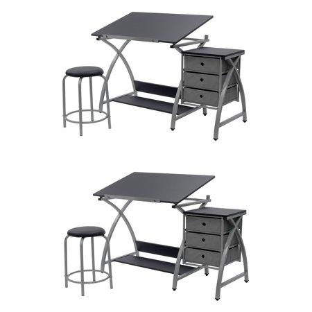 Studio Designs Laminate Craft Table Comet Center with Stool, Black (2 Pack) ()